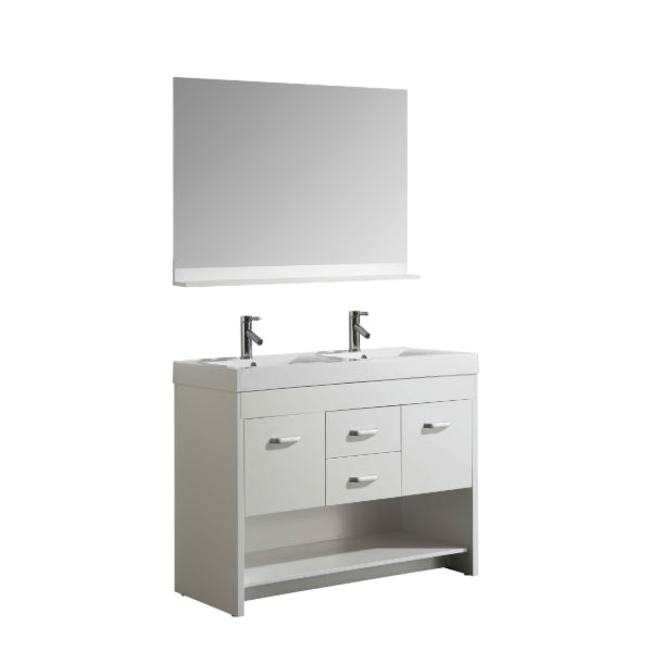 "Citrus 48"" White Modern Double Sink Vanity Set"