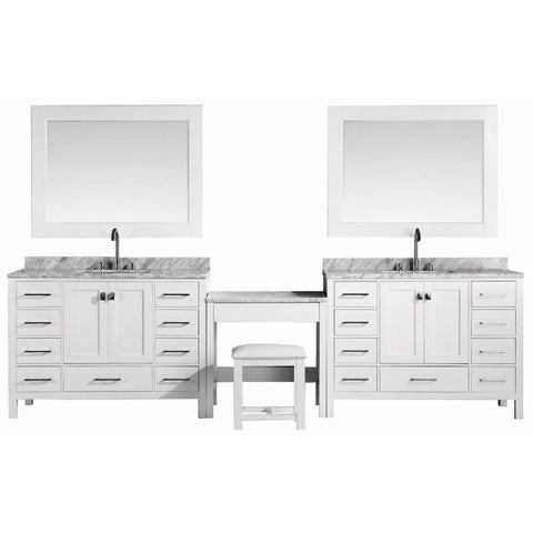 "2 London 48"" White Transitional Single Sink Vanity Set w/ Make-Up Table"