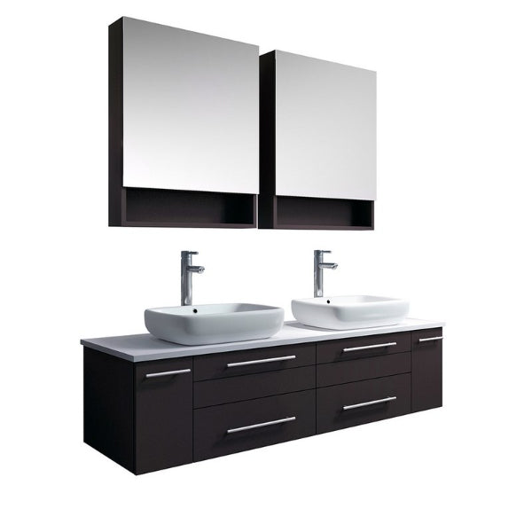 "Fresca Lucera 60"" Espresso Modern Wall Hung Double Vessel Sink Bathroom Vanity"