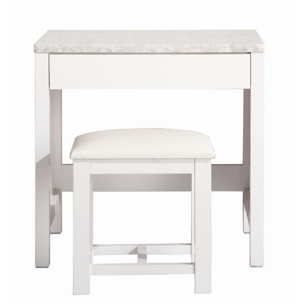 "London 30"" White Transitional Make-Up Table and Stool"