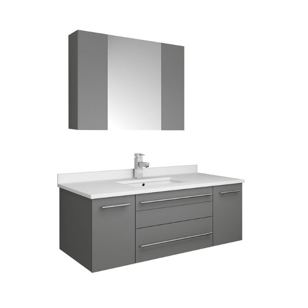 "Lucera 42"" Gray Modern Wall Hung Undermount Sink Vanity w/ Medicine Cabinet"