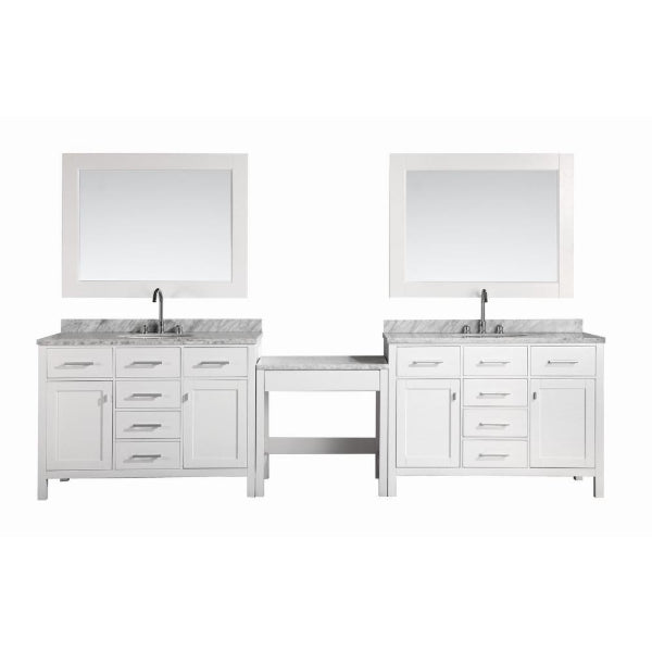 "2 London 48"" White Transitional Single Sink Vanity Set, White With 1 Make-up Table"