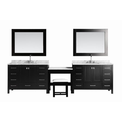 "2 London 48"" Espresso Transitional Single Sink Vanity Set w/ Make-Up Table"