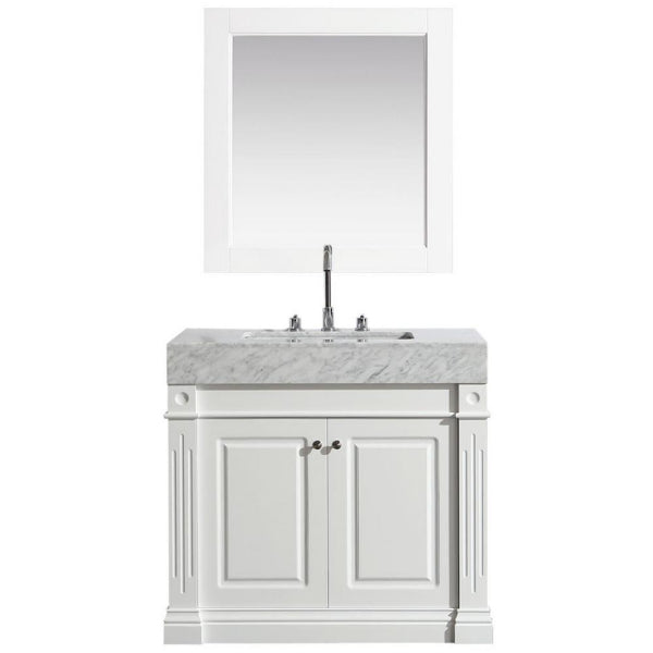 "Odyssey 36"" White Modern Single Sink Vanity With Carrara Marble Top"