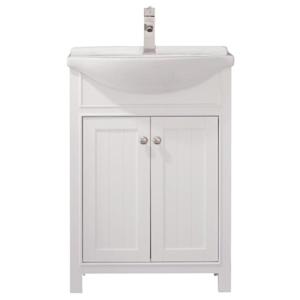 "Design Element Marian 24"" White Transitional Single Sink Vanity"
