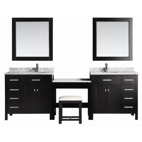 "2 London 36"" Espresso Transitional Single Sink Vanity Set Espresso With 1 Make-up Table"