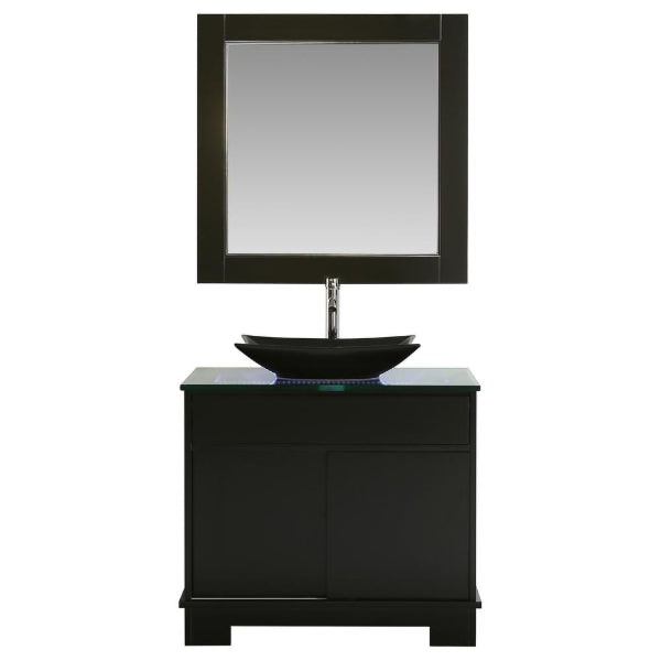 "Oasis 36"" Espresso Modern Single Sink Vanity Set w/ Decorative Drawer"