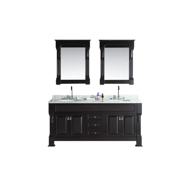 "Marcos 72"" Espresso Modern Double Sink Vanity Set With Carrara Marble Countertop"