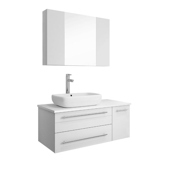 "Fresca Lucera 36"" White Modern Wall Hung Left Offset Vessel Sink Bathroom Vanity"