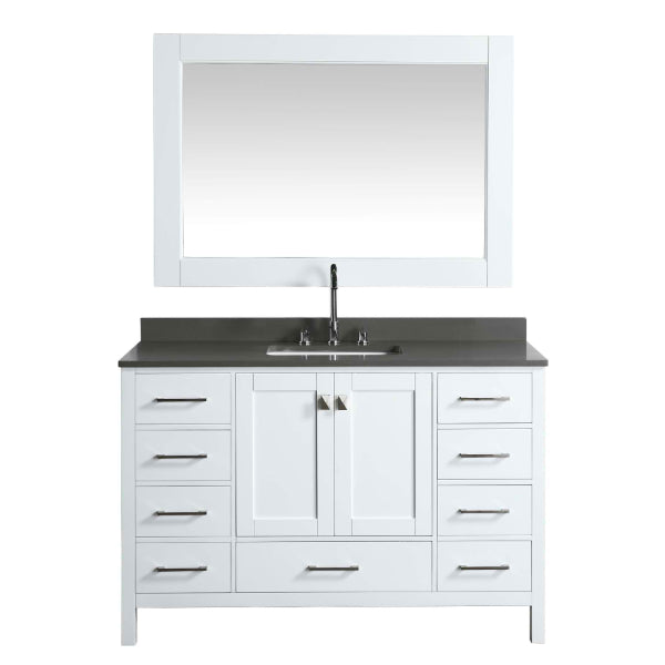 "Design Element London 54"" White  Transitional Vanity w/ Quartz Top"