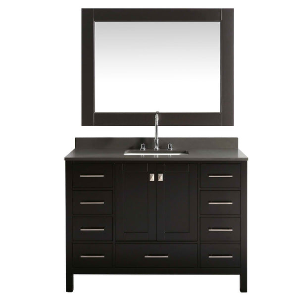 London 48″ Espresso Modern Single Sink Vanity w/ Gray Quartz Top
