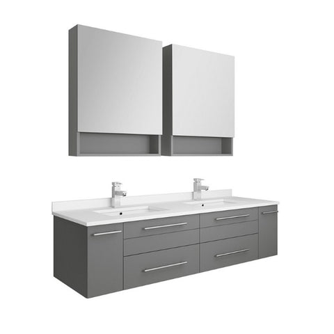 "Lucera 60"" Gray Modern Wall Hung Double Undermount Sink Bathroom Vanity"