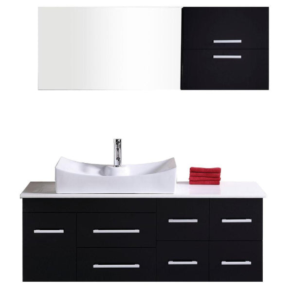 "Springfield 53"" Espresso Modern Single Sink Wall Mount Vanity Set"