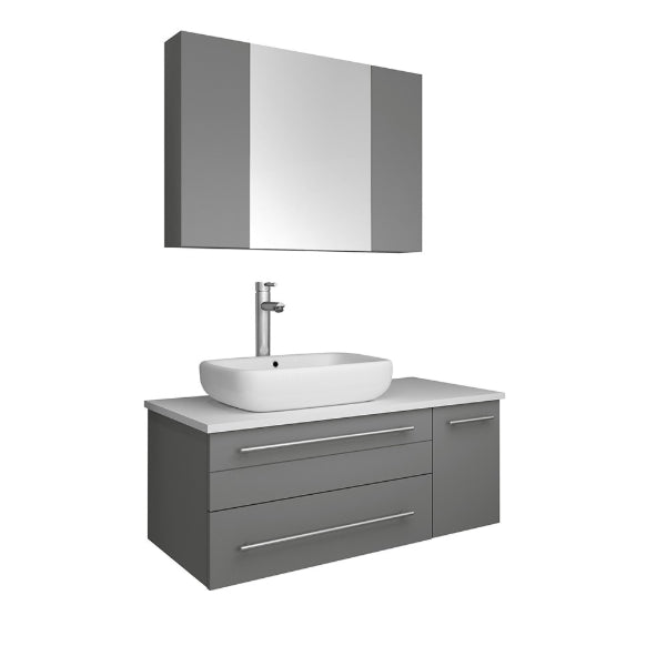 "Fresca Lucera 36"" Gray Modern Wall Hung Left Offset Vessel Sink Bathroom Vanity"