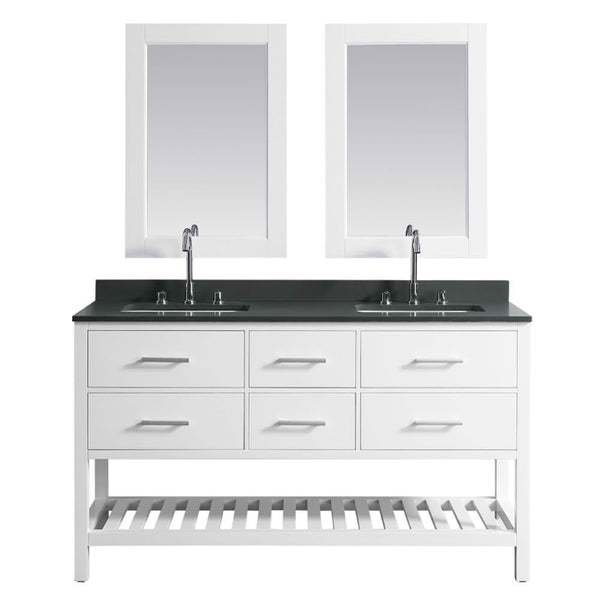 London 61″ White Modern Double Sink Vanity Set w/ Gray Quartz Top