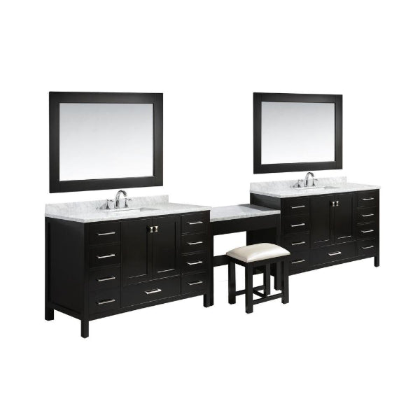 "London 84"" Espresso  Transitional Single Sink Vanity Set w/ 1 Make-up Table"