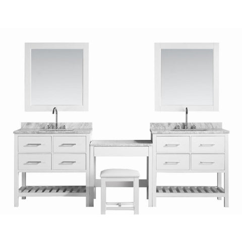 "2 London 36"" White Transitional Single Sink Vanity Set With Make-up Table"