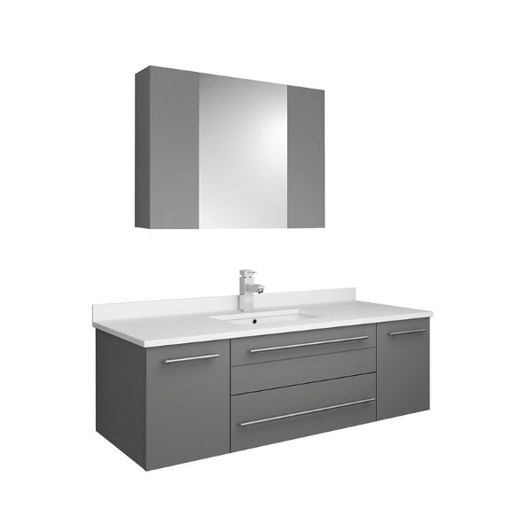 "Lucera 48"" Gray Modern Wall Hung Undermount Sink Vanity w/ Medicine Cabinet"
