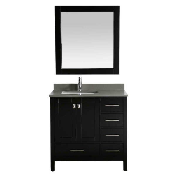 "Design Element London 36"" Espresso Transitional Single Sink Vanity w/ Quartz Top"