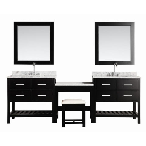 "2 London 36"" Espresso Transitional Single Sink Vanity Set With Make-up Table"
