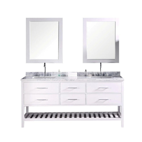 London 72″ White Transitional Double Sink Vanity w/ 60″ Linen Cabinet Set