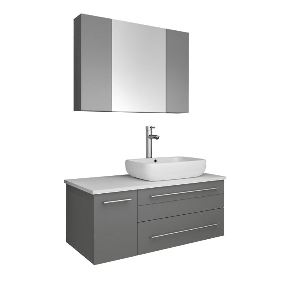 "Fresca Lucera 36"" Gray Modern Wall Hung Right Offset Vessel Sink Bathroom Vanity"
