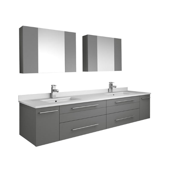 "Lucera 72"" Gray Modern Wall Hung Double Undermount Sink Bathroom Vanity"