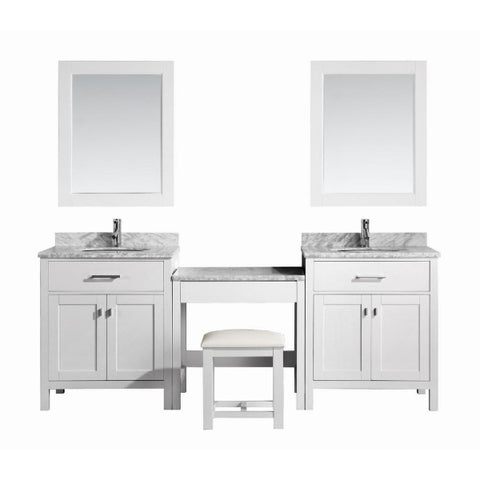 "2 London 30"" White Transitional Single Sink Vanity Set w/ 1 Make-up Table"
