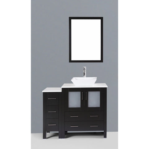 "Bosconi 42"" Espresso Single Vanity Set with Square Vessel Sink - AB130S1S"