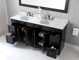 "Virtu USA Talisa 72"" Double Bathroom Vanity w/ Marble Top, Round Sink w/ Mirror"