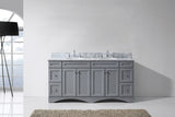 "Virtu USA Talisa 72"" Double Bathroom Vanity with Marble Top and Round Sink"