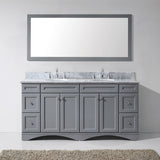 "Virtu USA Talisa 72"" Gray Double Sink Bathroom Vanity Set with Mirror - Bath Vanity Plus"