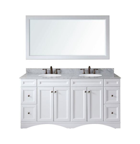"Virtu USA Talisa 72"" White Double Bathroom Vanity Set - ED-25072-WM-WH - Bath Vanity Plus"