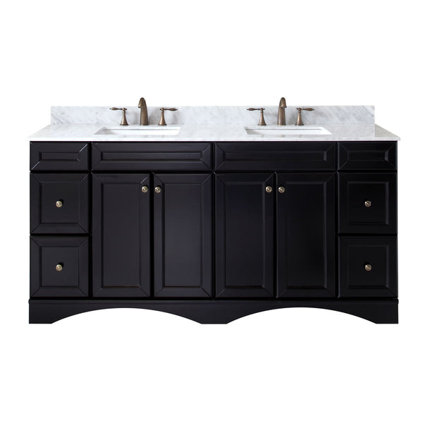 "Virtu USA Talisa 72"" Double Bathroom Vanity with Marble Top and Square Sink"