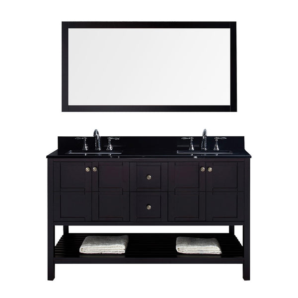 "Virtu USA Winterfell 60"" Double Bathroom Vanity w/ Granite Top, Sink, Mirror"