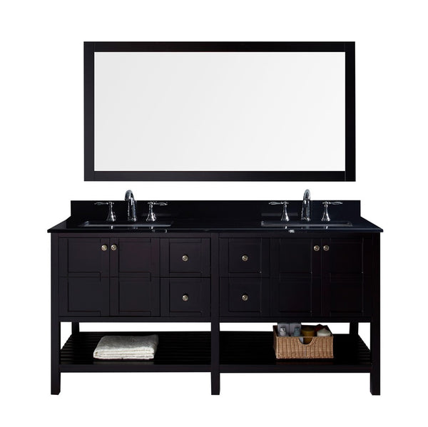 "Virtu USA Winterfell 72"" Double Bathroom Vanity w/ Granite Top, Sink, Mirror"