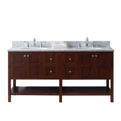 "Virtu USA Winterfell 72"" Double Bathroom Vanity with Marble Top and Round Sink"