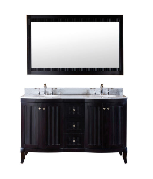 "Virtu USA Khaleesi 60"" Double Bathroom Vanity w/ Round Sink, Faucet, Mirror"