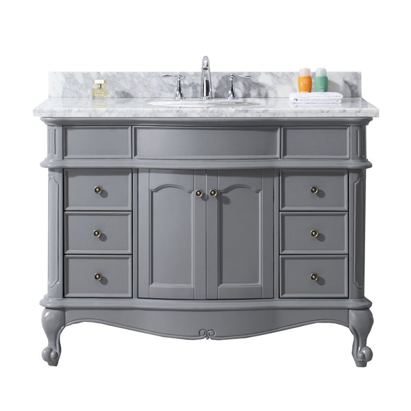 "Virtu USA Norhaven 48"" Single Bathroom Vanity with Marble Top and Round Sink"