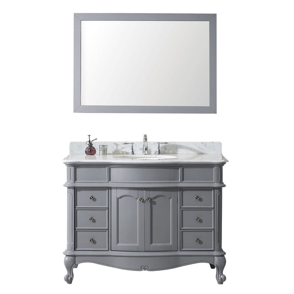 "Virtu USA Norhaven 48"" Single Bathroom Vanity w/ Marble Top, Round Sink, Mirror"