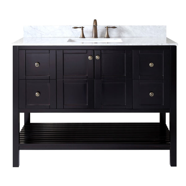 "Virtu USA Winterfell 48"" Single Bathroom Vanity with Marble Top and Square Sink"