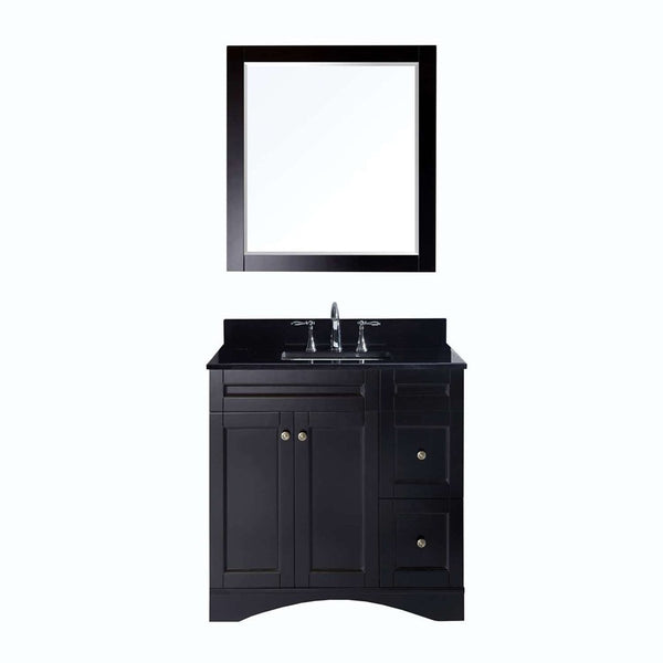 "Virtu USA Elise 36"" Single Bathroom Vanity w/ Black Granite Top, Sink, Mirror"