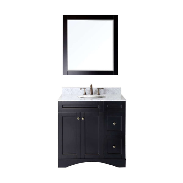 "Virtu USA Elise 36"" Single Bathroom Vanity w/ Marble Top, Round Sink w/ Mirror"