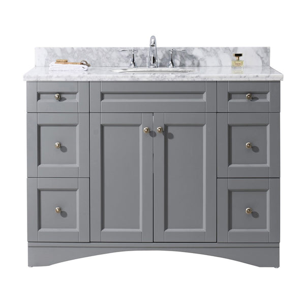 "Virtu USA Elise 48"" Single Bathroom Vanity with Marble Top and Round Sink"