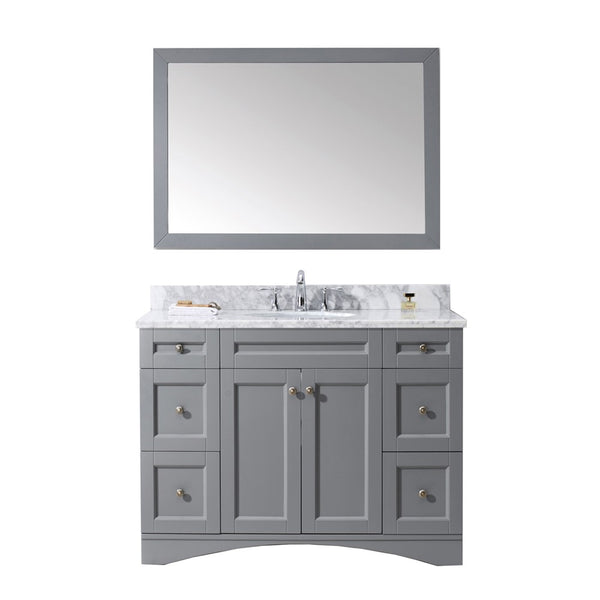"Virtu USA Elise 48"" Single Bathroom Vanity w/ Marble Top, Round Sink w/ Mirror"