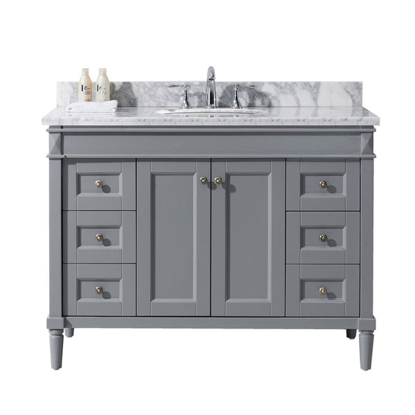 "Virtu USA Tiffany 48"" Single Bathroom Vanity with Marble Top and Round Sink"