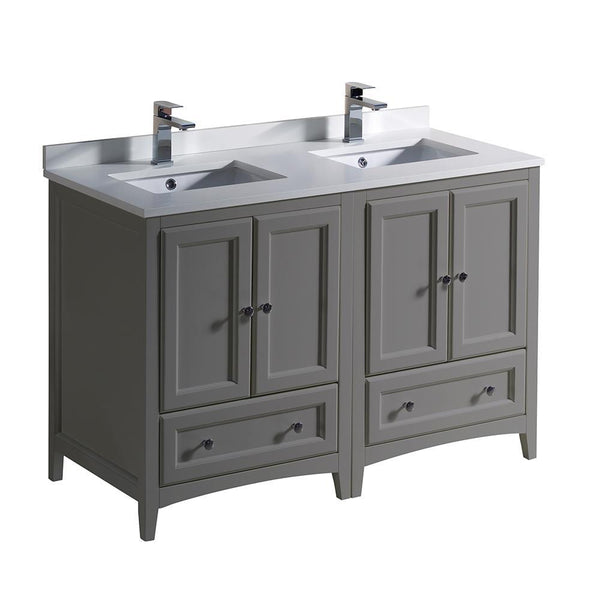 "Fresca Oxford 48"" Gray Traditional Double Sink Bathroom Cabinets w/ Top & Sinks"