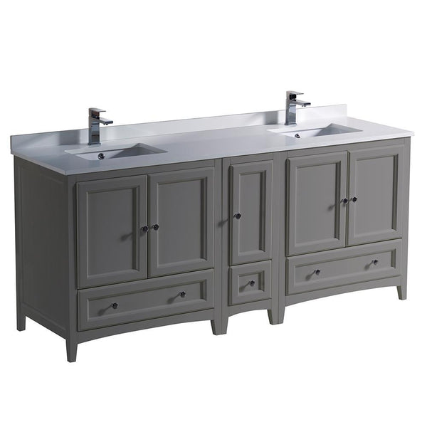 "Fresca Oxford 72"" Gray Traditional Double Sink Bathroom Cabinets"