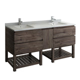 "Fresca Formosa 70"" Floor Standing Open Bottom Double Sink Modern Bathroom Cabinet 