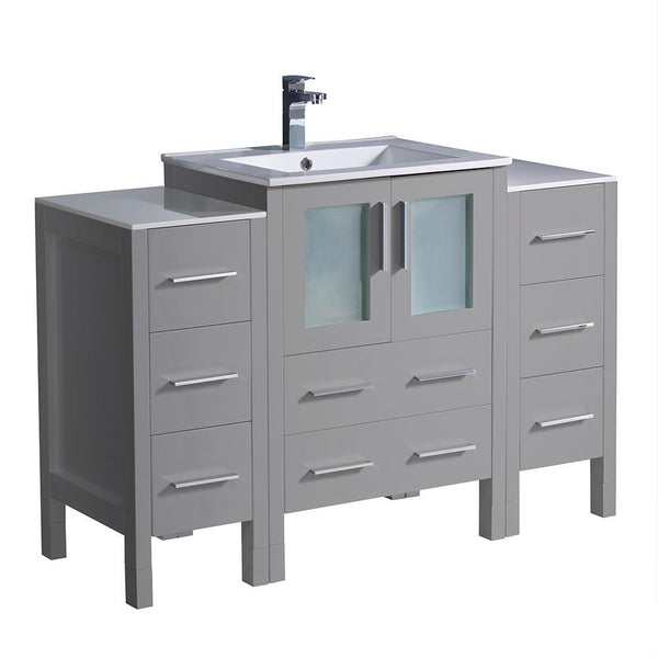 "Fresca Torino 48"" Gray Modern Bathroom Cabinets w/ Integrated Sink"